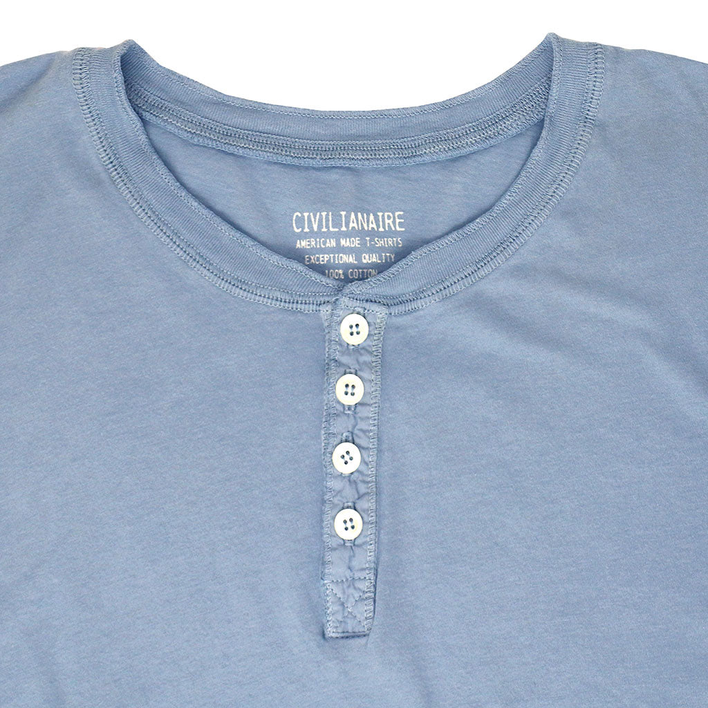 Long Sleeve Cotton Banded Henley - CAROLINA BLUE