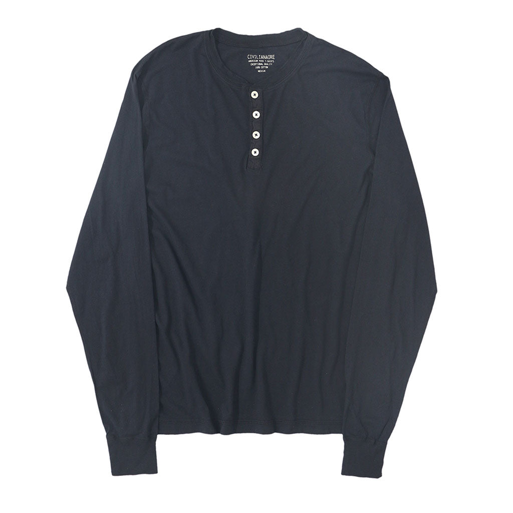 Long Sleeve Banded Henley - Cotton - DK SLATE BLUE