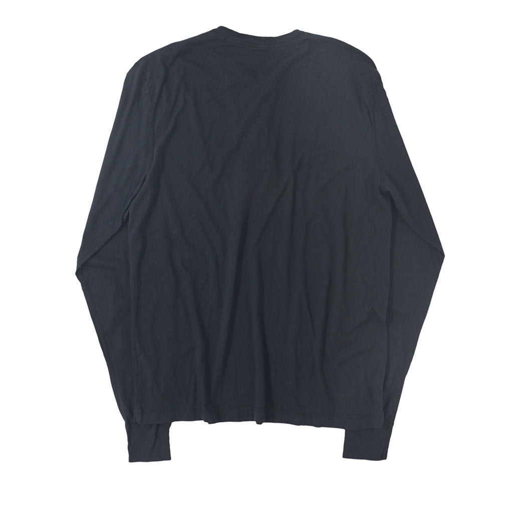 Long Sleeve Banded Henley - Cotton - DARK SLATE