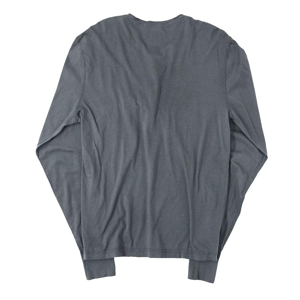 Long Sleeve Cotton Banded Henley - CHARCOAL