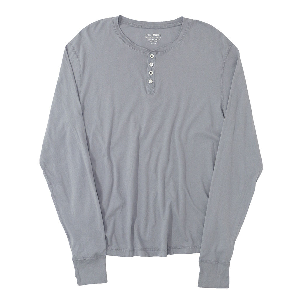 Long Sleeve Banded Henley - Cotton - Iron