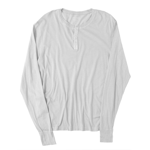 Long Sleeve Cotton Banded Henley - FROST