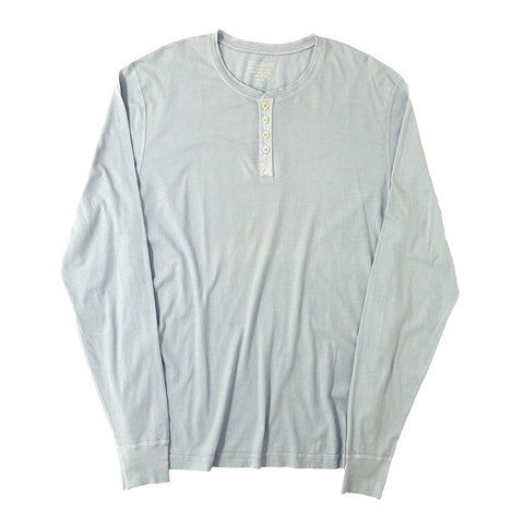 Long Sleeve Banded Henley - Cotton - COOL GREY