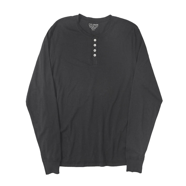 Long Sleeve Banded Henley - Cotton - Black - Sharp