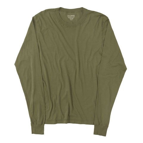 Long Sleeve Crew Neck Cotton Tee - OLIVE GREEN #3091