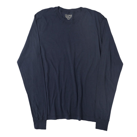 Long Sleeve Crew Neck Cotton Tee - DK SLATE BLUE #4405