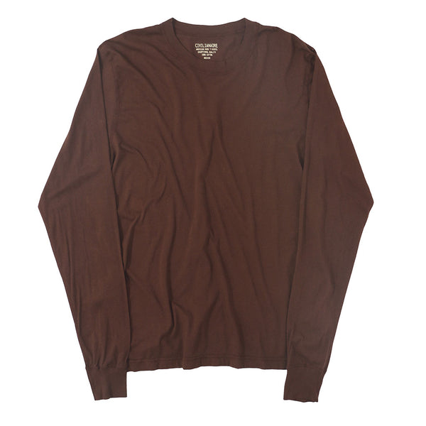 Long Sleeve Crew Neck Cotton Tee - DEEP BURGUNDY #6152