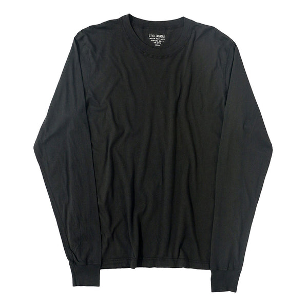 Long Sleeve Crew Neck Cotton Tee - Sharp Black #9104