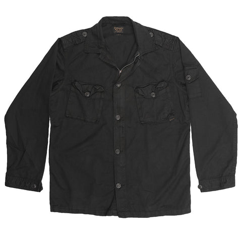 Men's 3 Pocket Herringbone Cotton Officer Jacket - Black