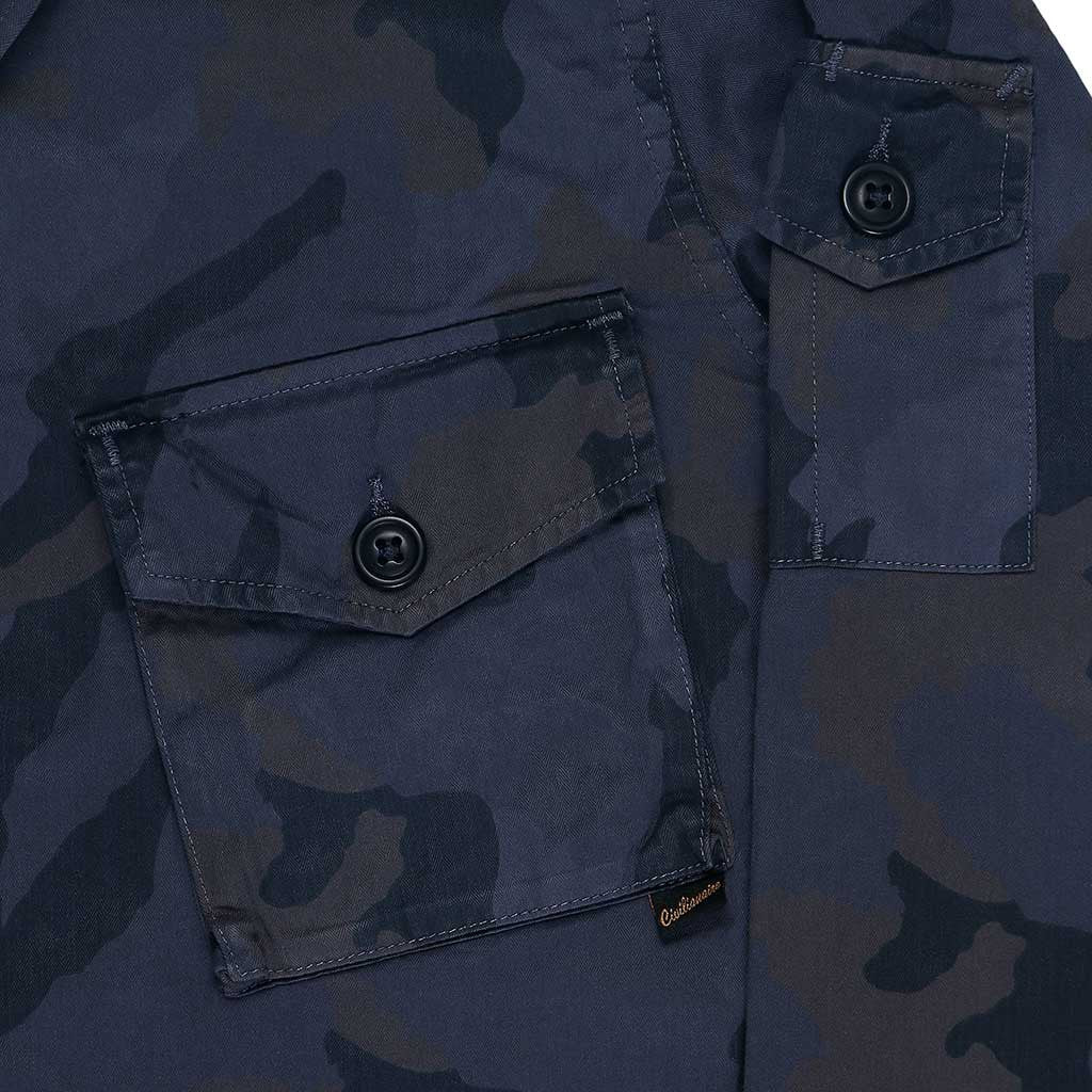 Men's 3 Pocket Herringbone Cotton Officer Jacket - Dark Slate Blue
