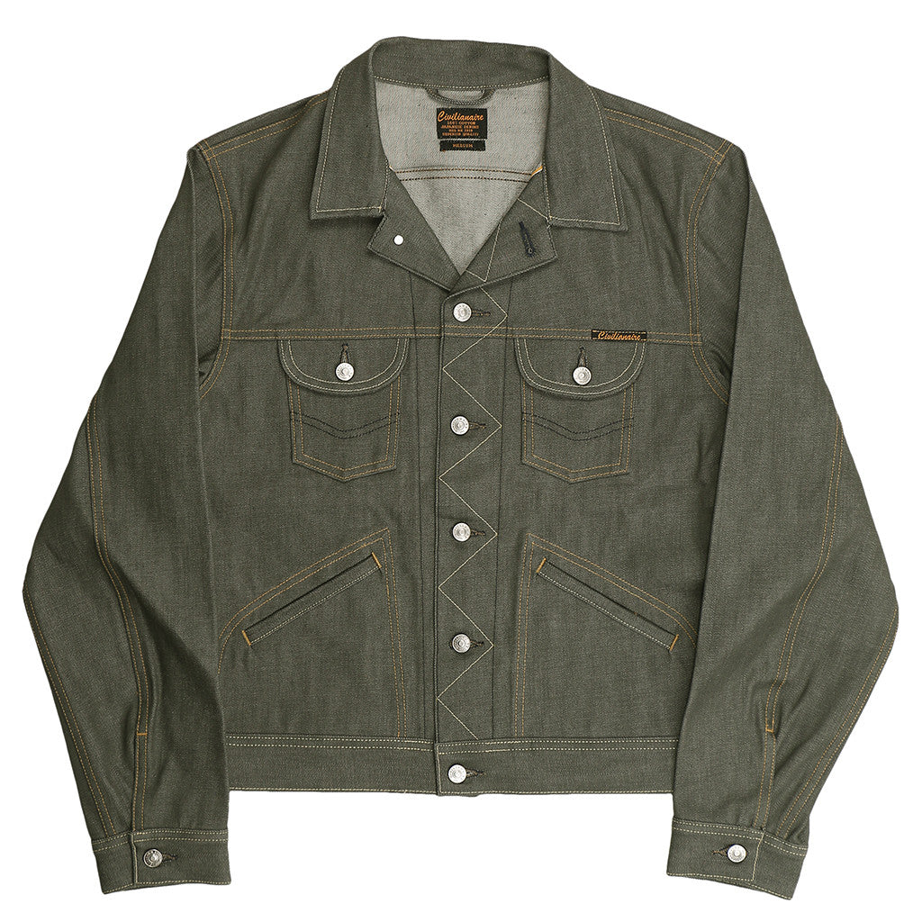5 Pocket 13.5 oz Gold Selvage Denim Ranch Jacket - Olive