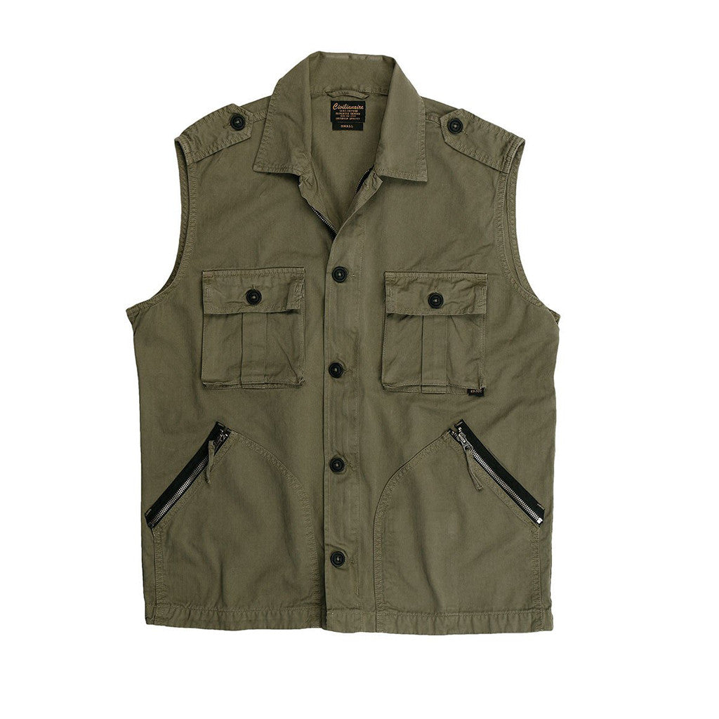 """Tiger"" 4 Pocket Camo Herringbone Cotton Officer Zip Vest - Platoon Olive"