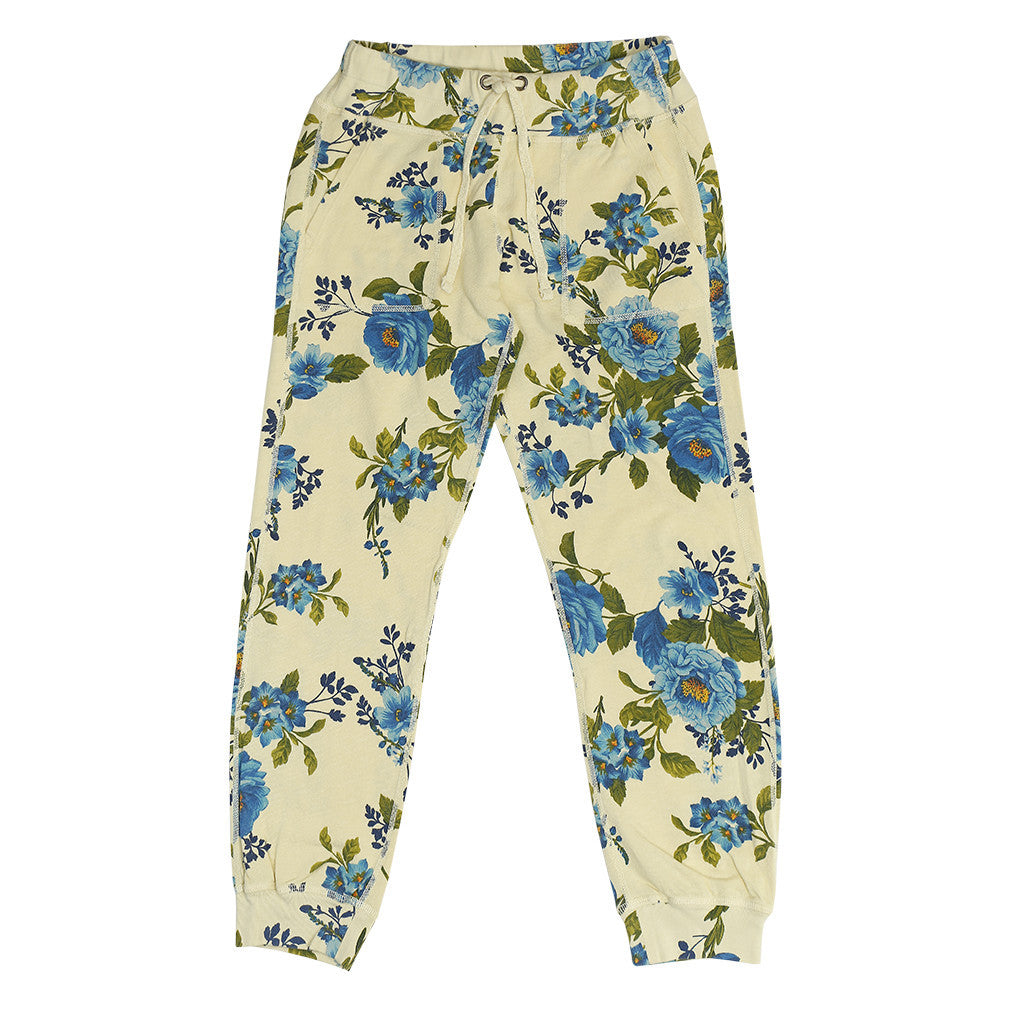 Women's Drawstring Waist Slant Pocket Supima Cotton Fleece Cropped Jogger - Blue Rose Lemon Yellow