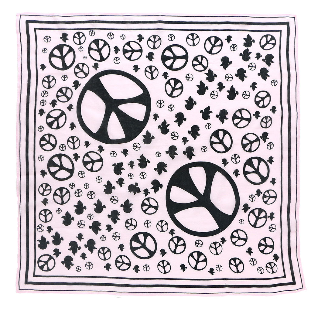 "24"" x 24"" Silk screened Cotton Peace Bandana - Pink Clover"