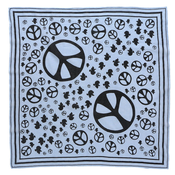"24"" x 24"" Silkscreened Cotton Peace Bandana - Skyra Blue"