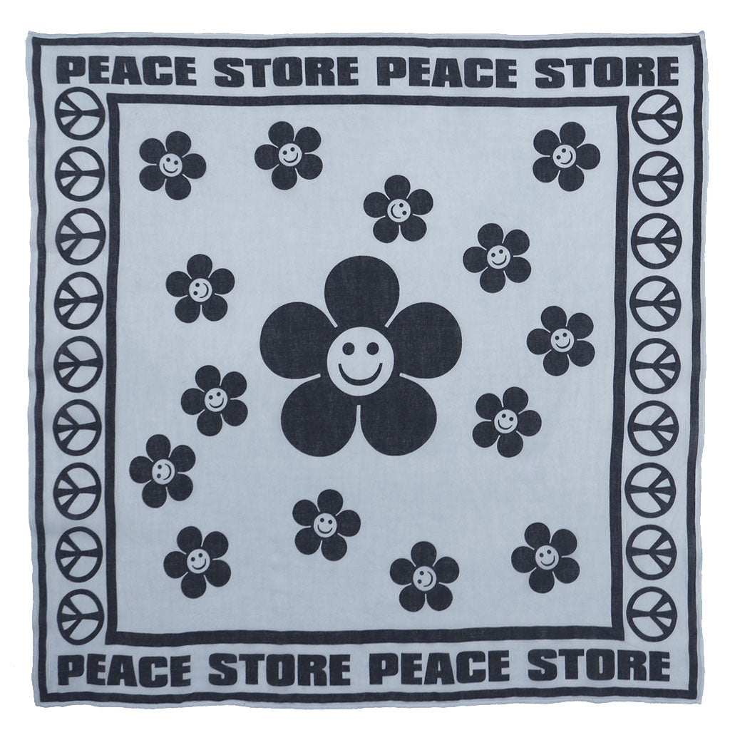 "24"" x 24"" Silkscreened Cotton Peace Store Bandana - Skyra Blue"