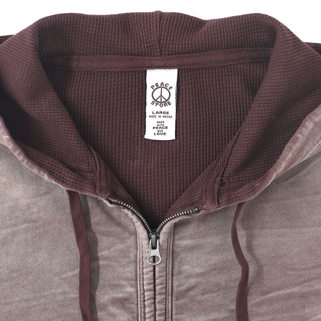 Peace Store Zip Front Hooded Fleece/Thermal Sweatshirt - BORDO