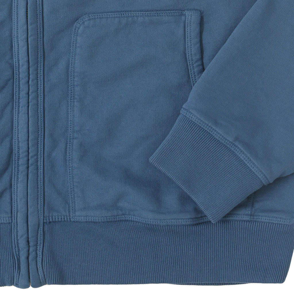 Peace Store Zip Front Hooded Fleece/Thermal Sweatshirt - BLUE JEANS