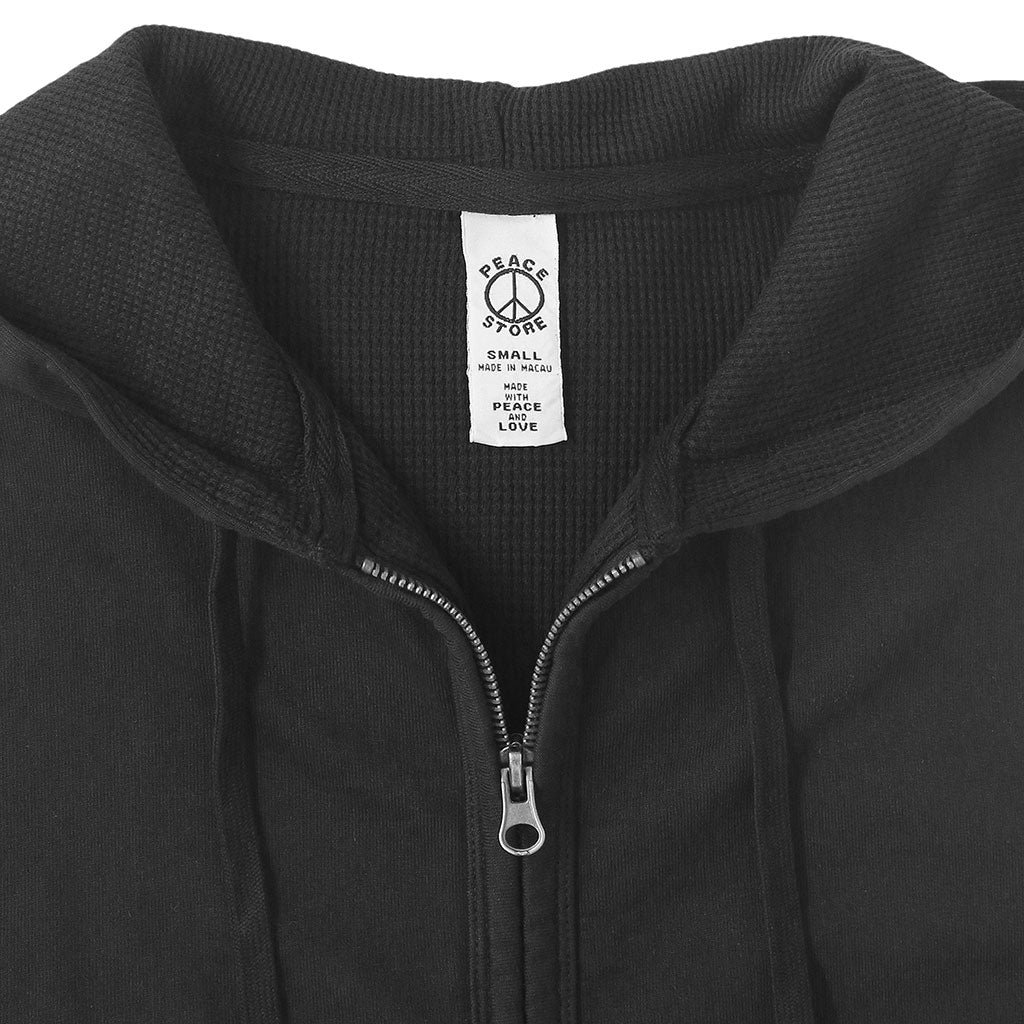 Peace Store Zip Front Hooded Fleece/Thermal Sweatshirt - Jet Black