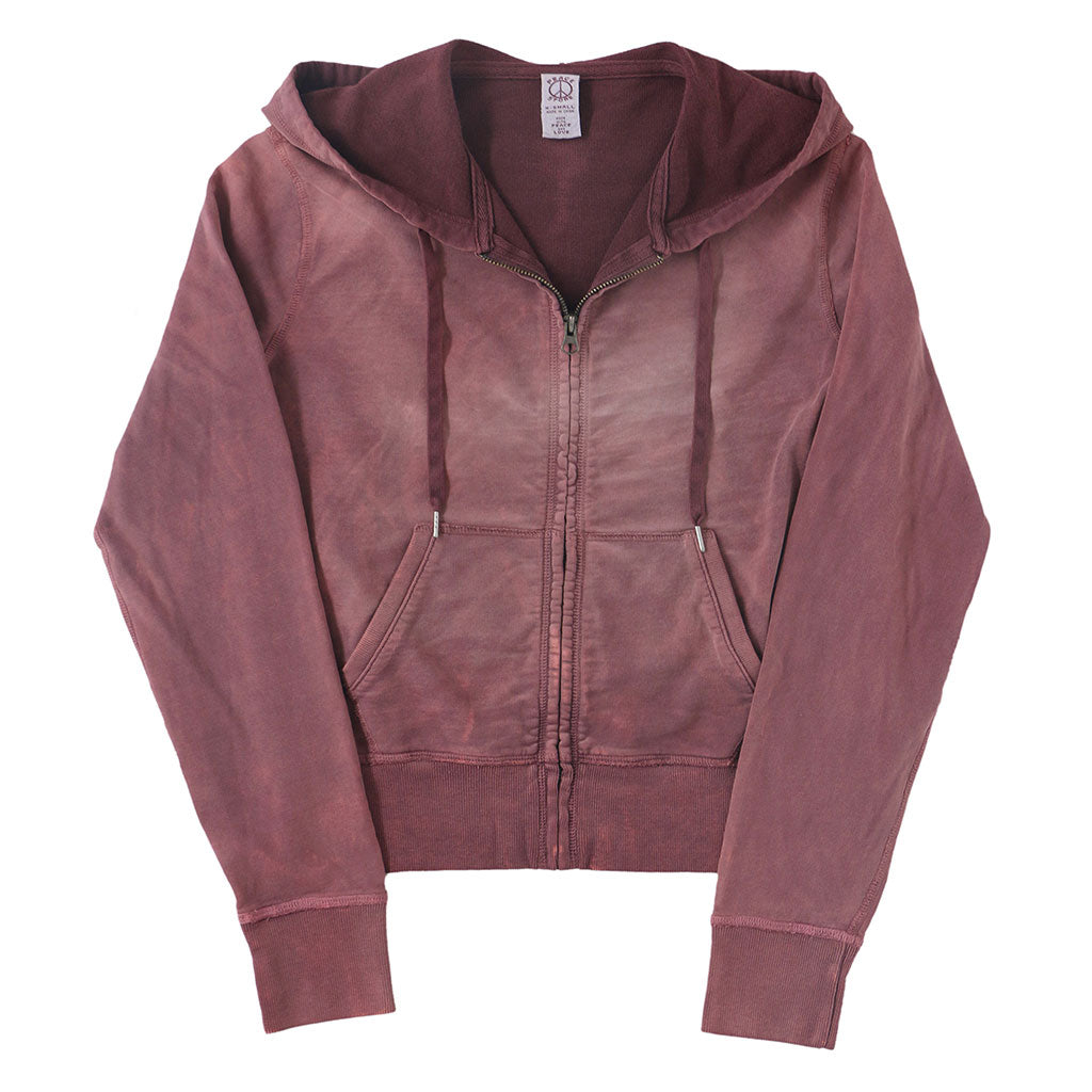 Peace Store Women's  Zip Hooded Sweatshirt - BERRY RED