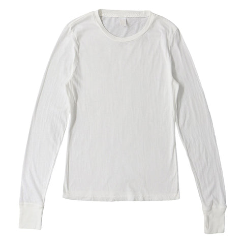 Peace Store Long Sleeve Cotton Banded Crew Neck - Optic White