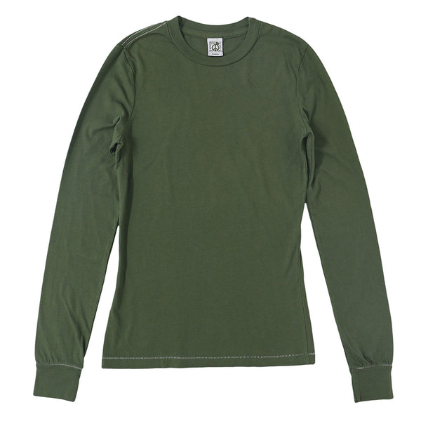 Peace Store Long Sleeve Cotton Banded Crew Neck - Old Olive