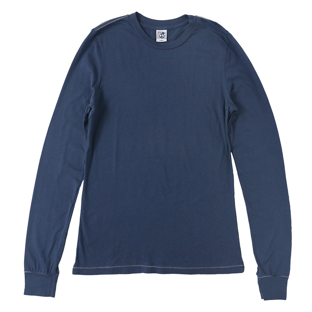 Peace Store Long Sleeve Cotton Banded Crew Neck - EZ Dark Navy