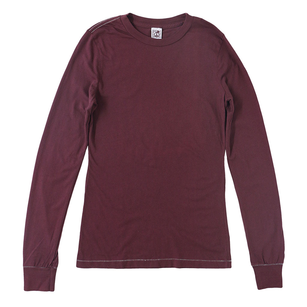 Peace Store Long Sleeve Cotton Banded Crew Neck - Cranberry