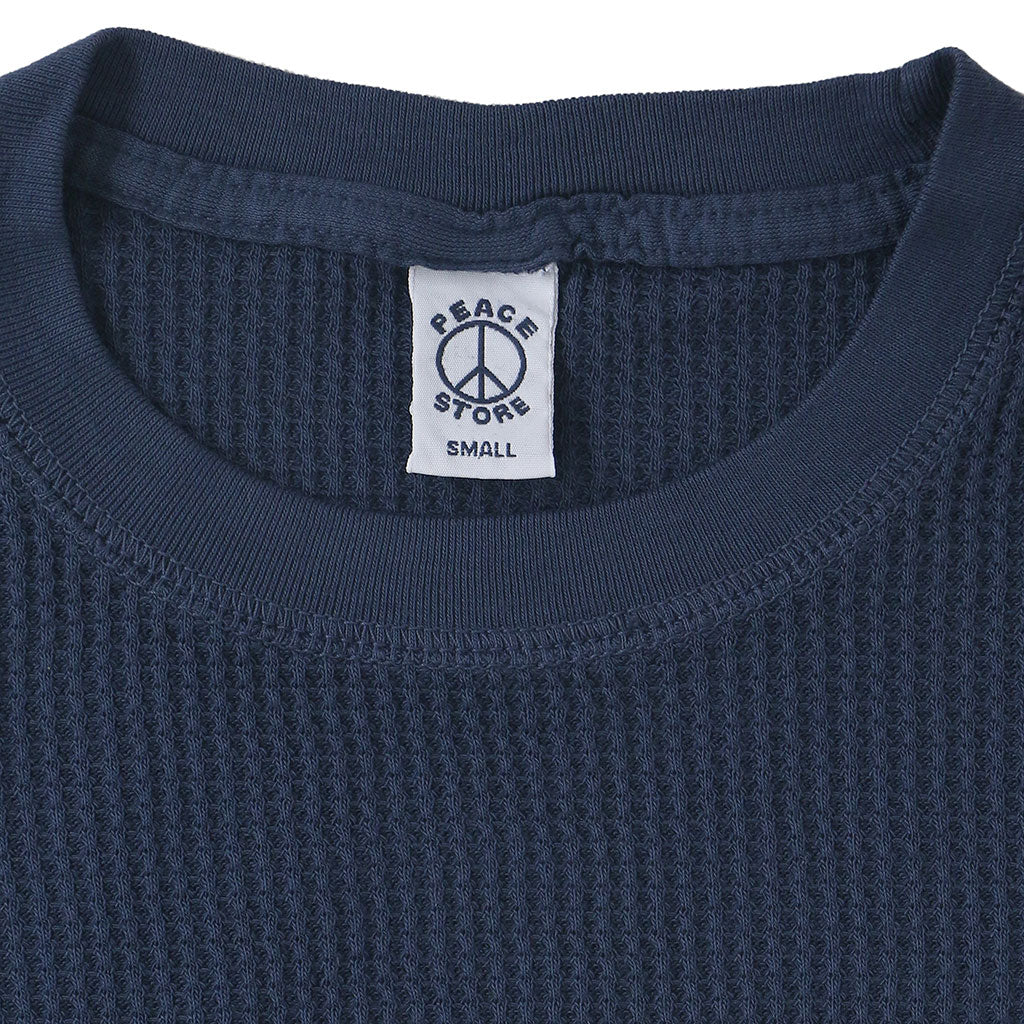 Peace Store Long Sleeve Thermal Cotton Banded Crew Neck - Dark Slate Blue