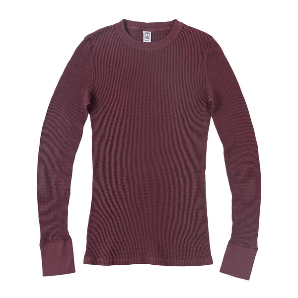 Peace Store Long Sleeve Thermal Cotton Banded Crew Neck - Cranberry