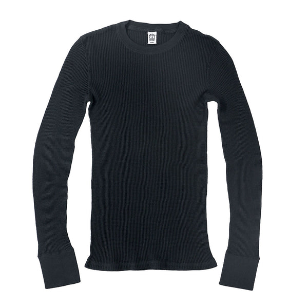 Peace Store Long Sleeve Thermal Cotton Banded Crew Neck - Black / Sharp