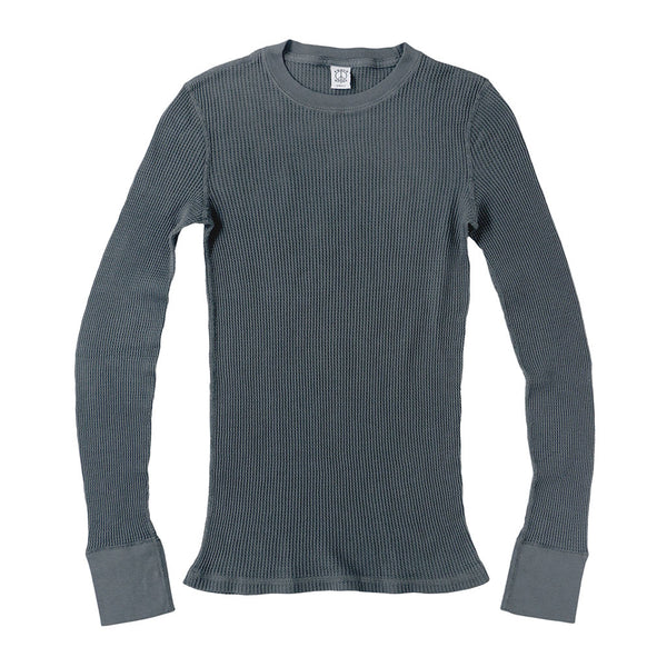 Peace Store Long Sleeve Thermal Cotton Banded Crew Neck - Shadow