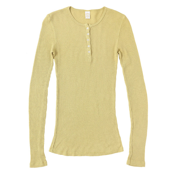 Peace Store Long Sleeve Thermal Cotton Henley - Dijon