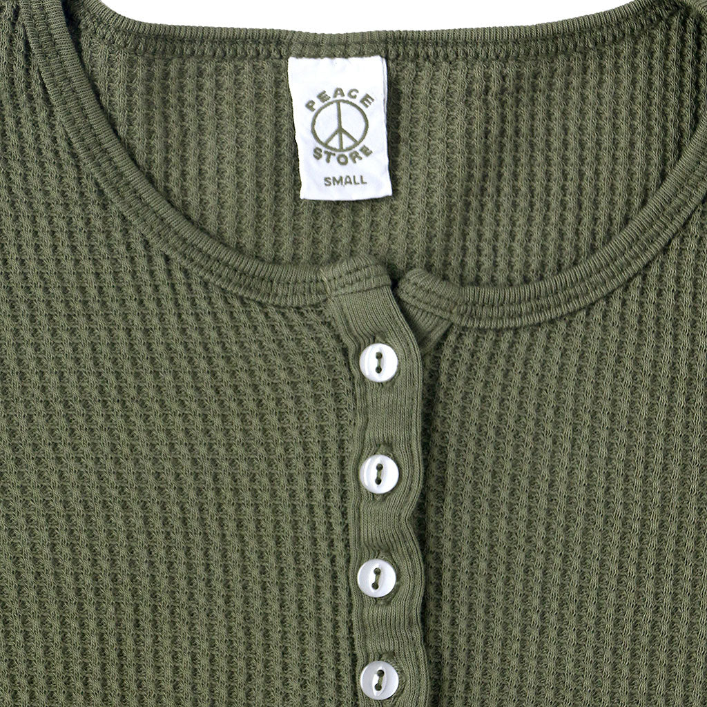 Peace Store Long Sleeve Thermal Cotton Henley - Olive Green