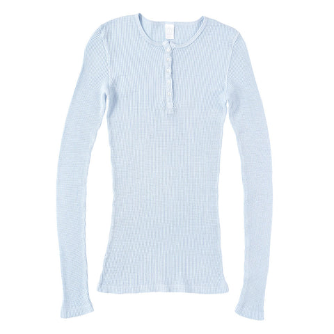 Peace Store Long Sleeve Thermal Cotton Banded Henley - Skyra Blue