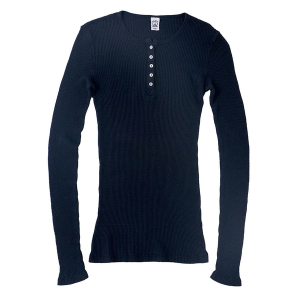 Peace Store Long Sleeve Thermal Cotton Henley - Navy Blue