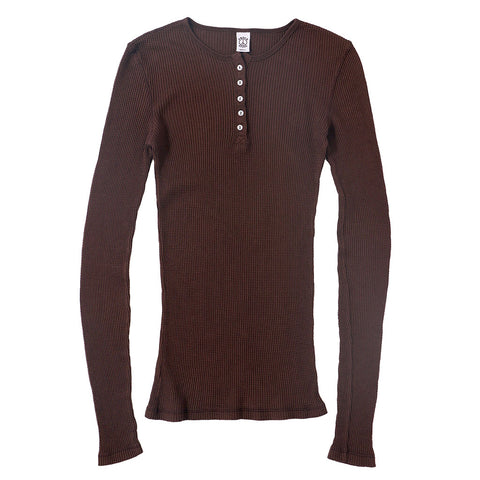 Peace Store Long Sleeve Thermal Cotton Henley - Deep Burgundy