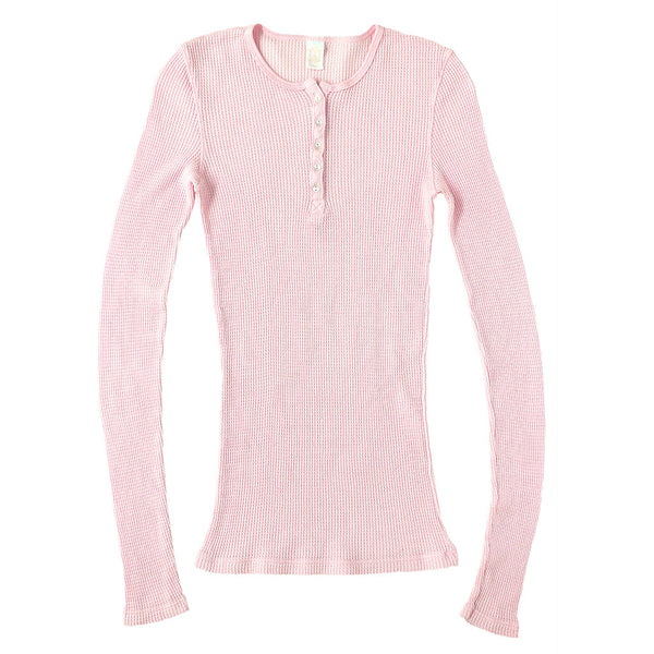 Peace Store Long Sleeve Thermal Cotton Banded Henley - Pink Clover