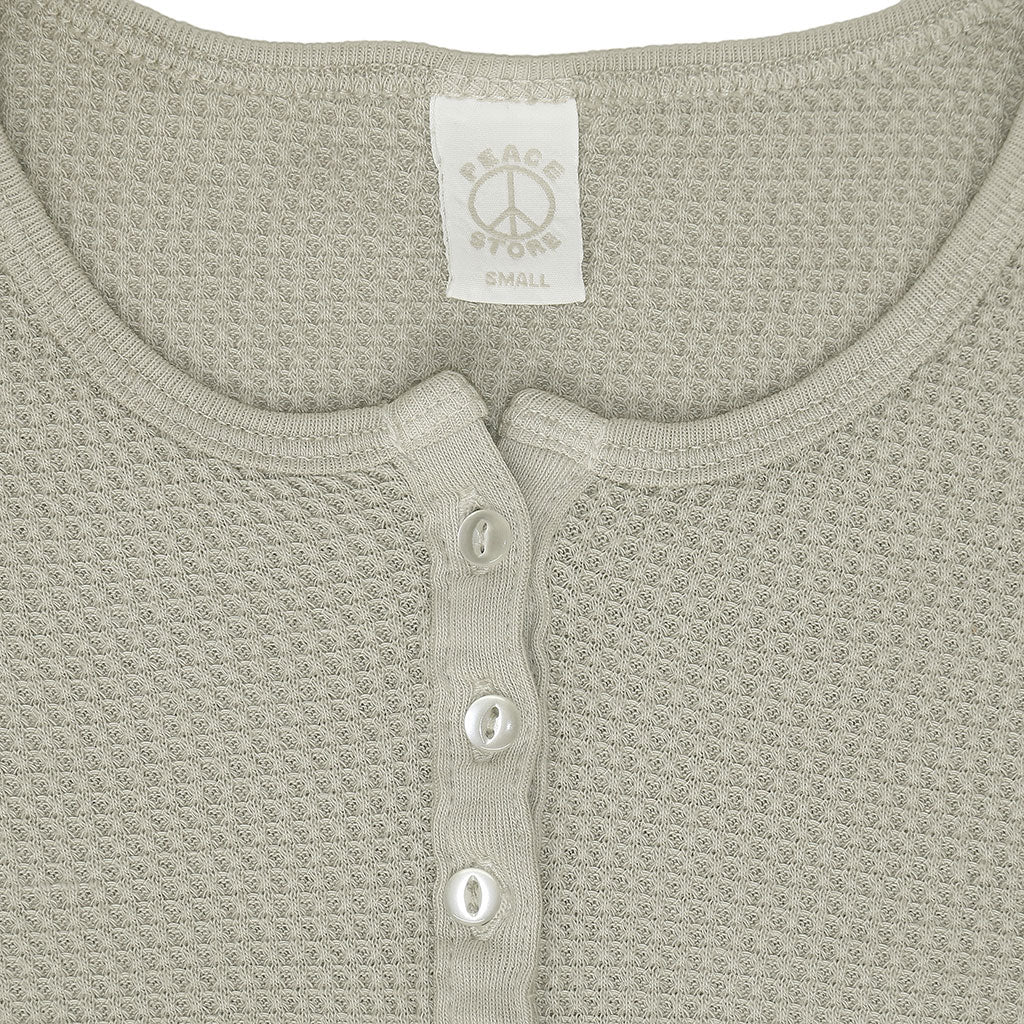 Peace Store Long Sleeve Thermal Cotton Banded Henley - Hay