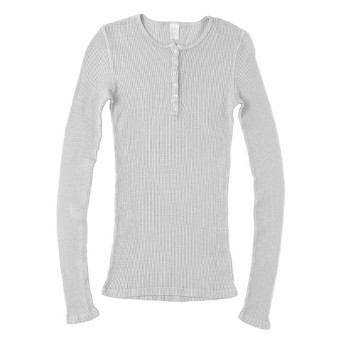 Peace Store Long Sleeve Thermal Cotton Banded Henley - Frost