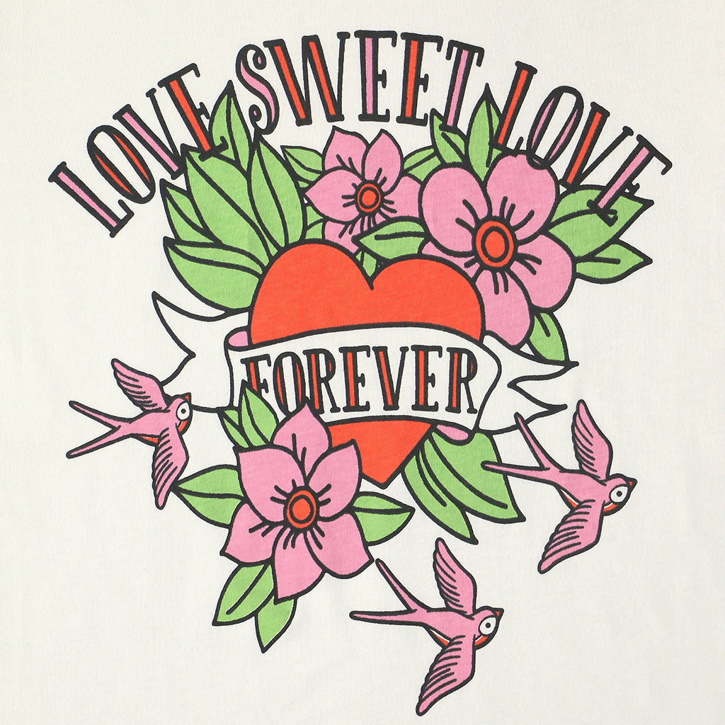 "LOVE SWEET LOVE ""LOVE YOU FOREVER"" SHORT SLEEVE Crew Neck - #1180 White Natural /Pink"