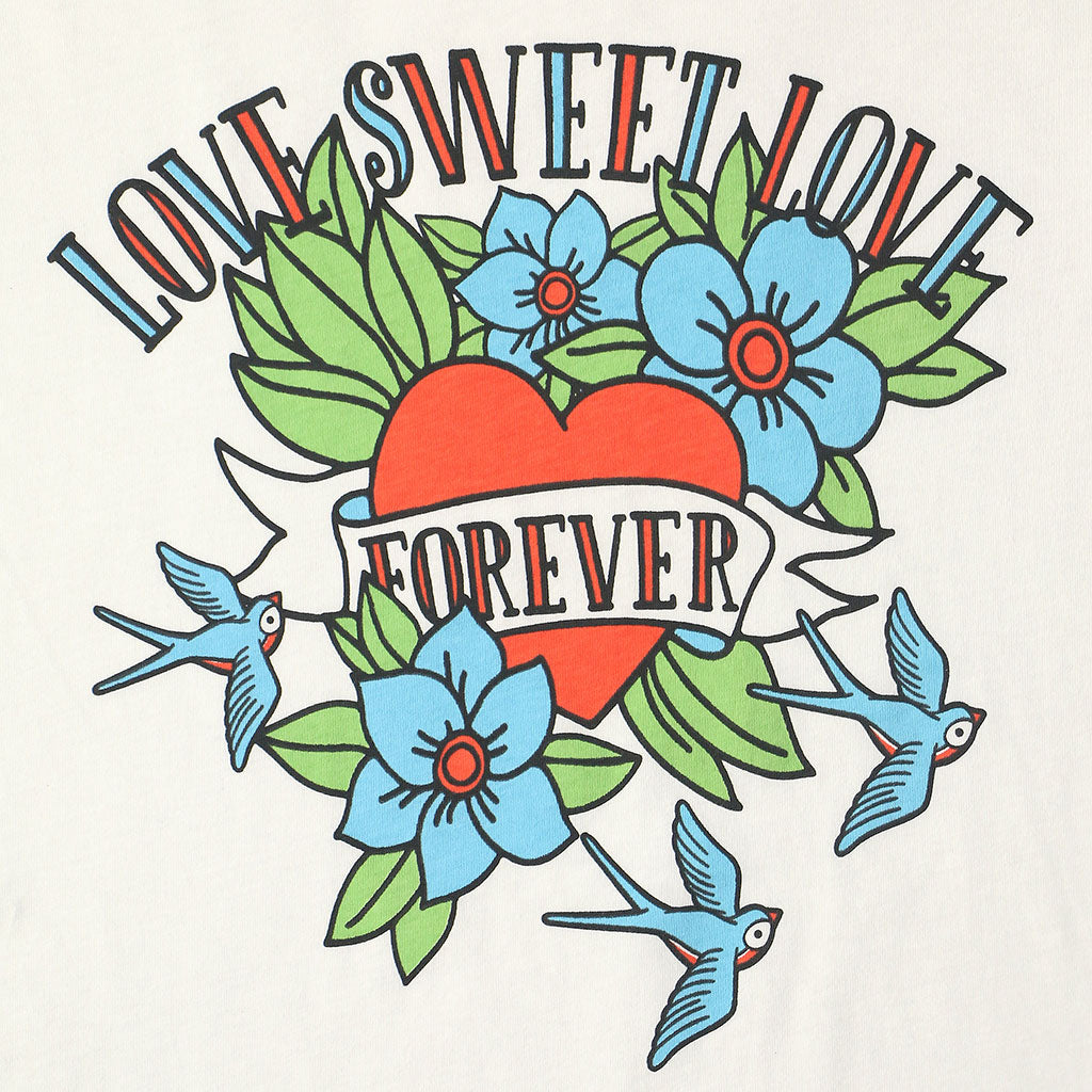 "LOVE SWEET LOVE ""LOVE YOU FOREVER"" SHORT SLEEVE Crew Neck - #1052 White NATURAL / Blue"