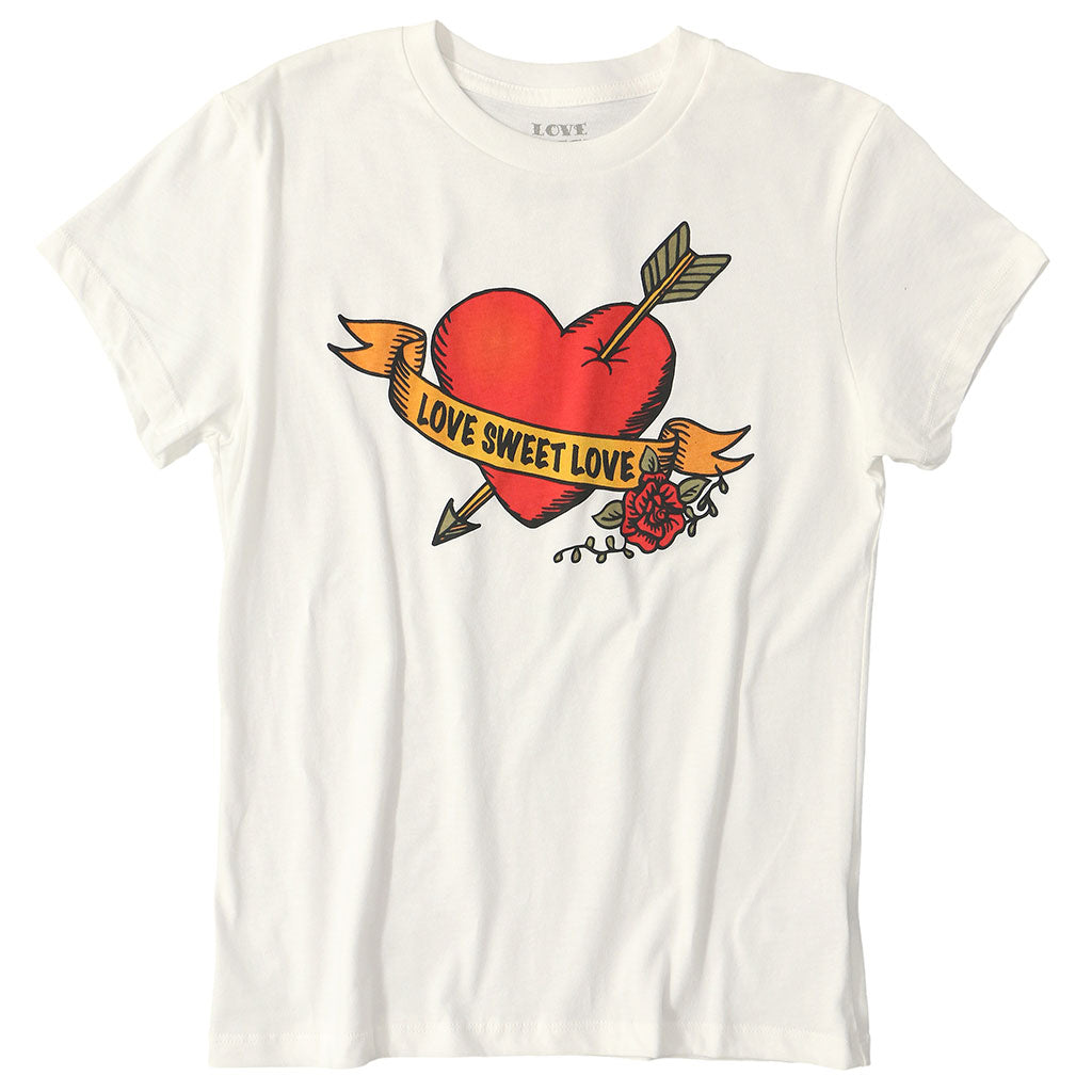 "LOVE SWEET LOVE ""BRAVE LOVE"" Short Sleeve Crew Neck - #1052 White Natural"