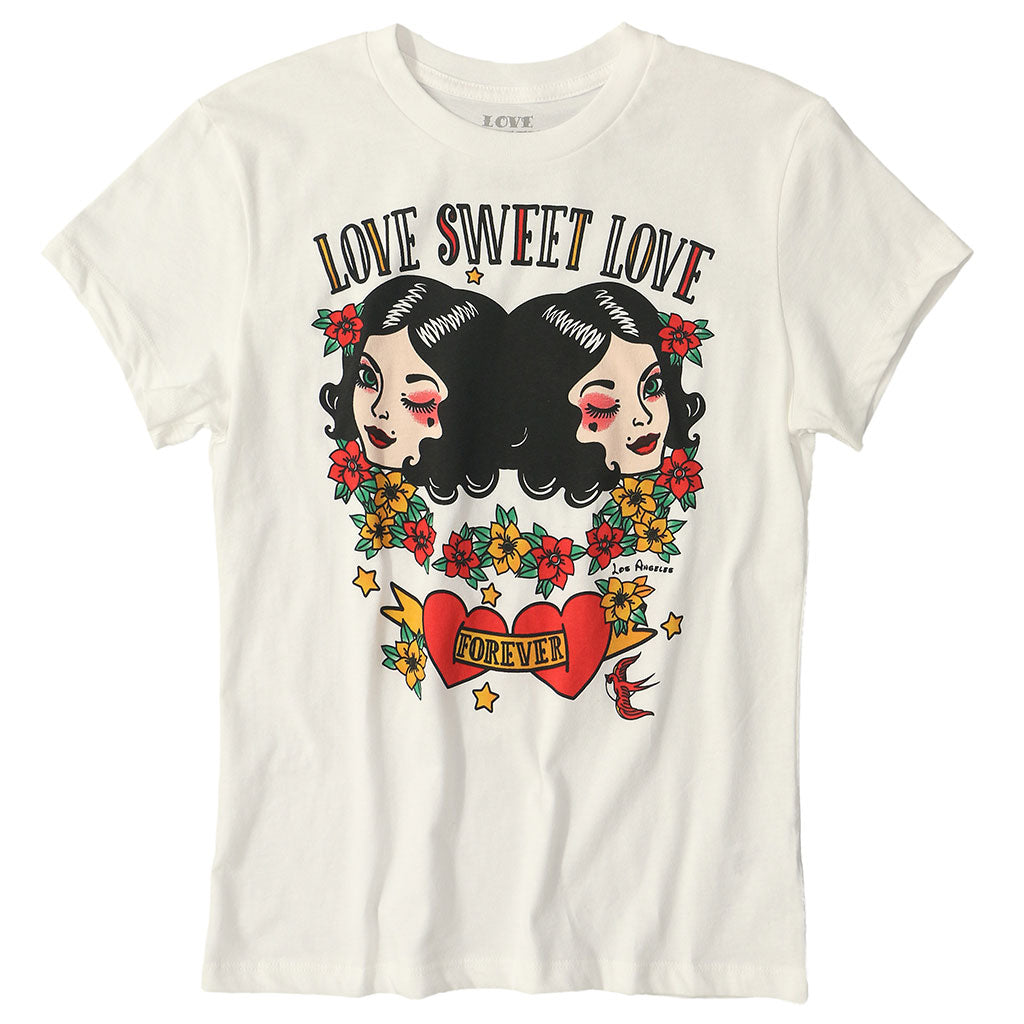 "LOVE SWEET LOVE ""LOVE REFLECTION"" SHORT SLEEVE Crew Neck - WHITE NATURAL"
