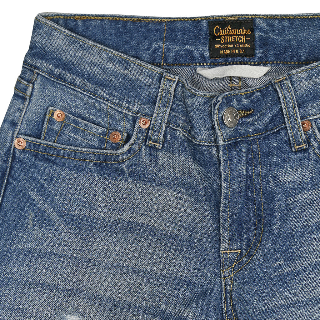 Women's 11 oz Gold Selvage Denim Super Slim Stretch Jean - Worn Thru Indigo