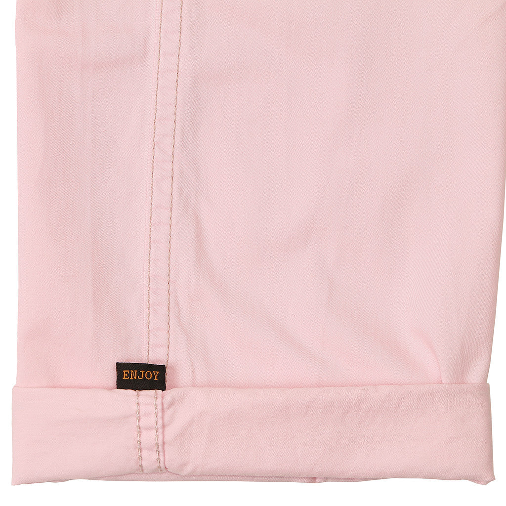 Women's Sateen Pink Clover Military Pant by Civilianaire cuff and secret tag detail