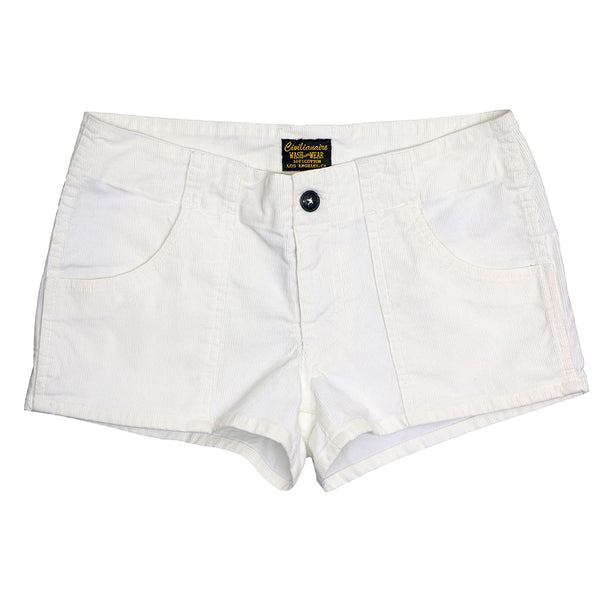 Lightweight Cotton Corduroy 3-Pocket Mili Short - White