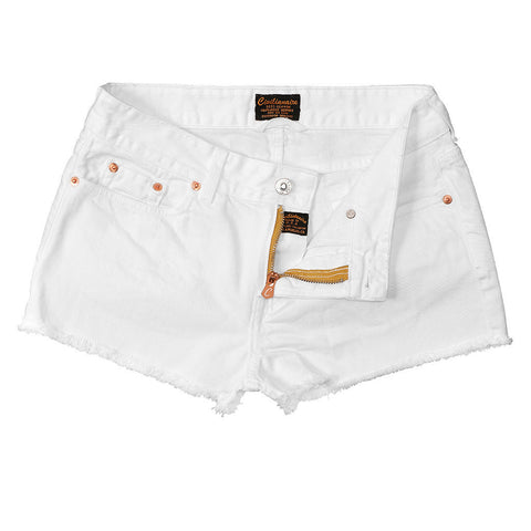 Women's Cut-Off Boyfriend 5-Pocket Twill Short - White