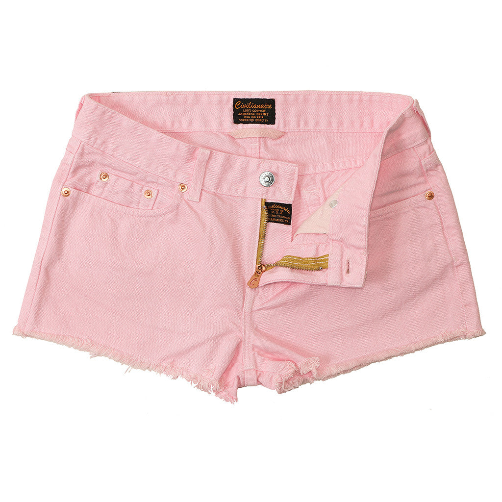 Cut-Off Boyfriend 5-Pocket Twill Short - Pink Clover
