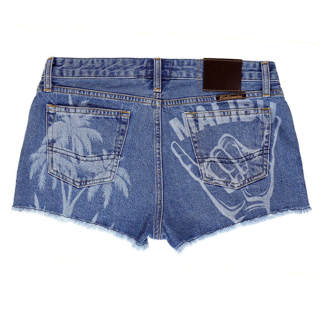 5 pocket Cut-Off  Boyfriend Shorts - Malibu Wash & Print